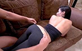 Canela Skin fuck sideways by a large rod chico stick!