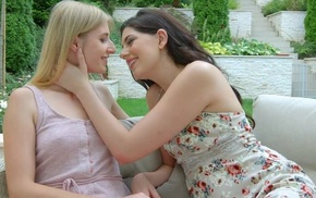 Two beautiful starlets kissing and the fate of outdoors