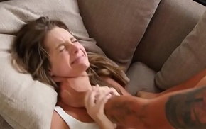 Petite babe roughfucked by stepbrother