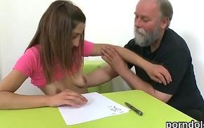 Erotic schoolgirl gets enticed plus shagged by her elder teacher